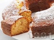 Рецепта Бърз и лесен домашен кекс / сладкиш с конфитюр от боровинки (с кисело мляко и бакпулвер)